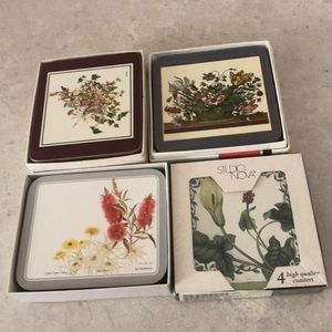 A collection of 21 coasters with floral motif